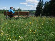 Wanderrast in Blumenwiese